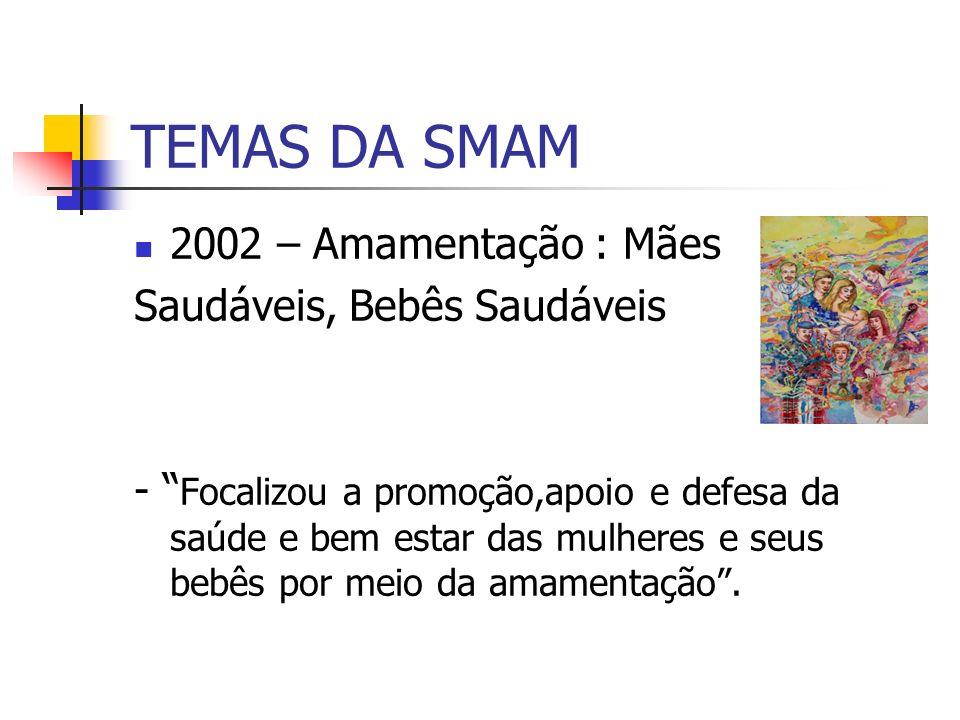 TEMAS DA SMAM 2002 – Amamentação : Mães Saudáveis, Bebês Saudáveis