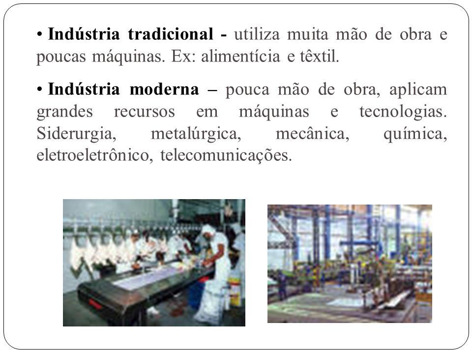 Indústria tradicional - utiliza muita mão de obra e poucas máquinas