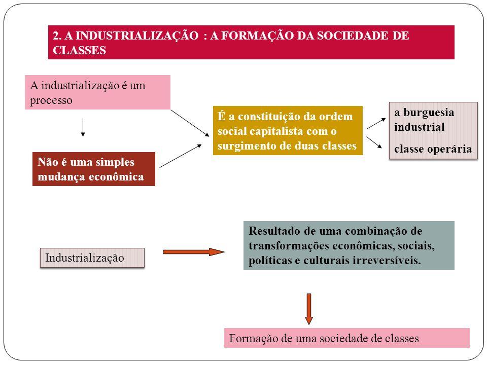 2. A INDUSTRIALIZAÇÃO : A FORMAÇÃO DA SOCIEDADE DE CLASSES