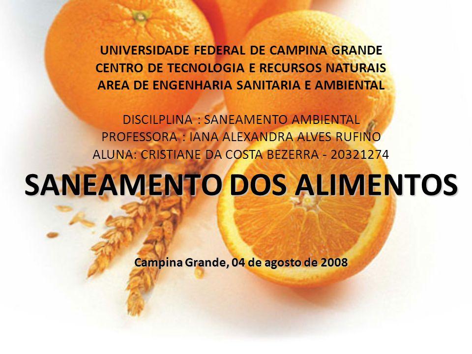 SANEAMENTO DOS ALIMENTOS Campina Grande, 04 de agosto de 2008