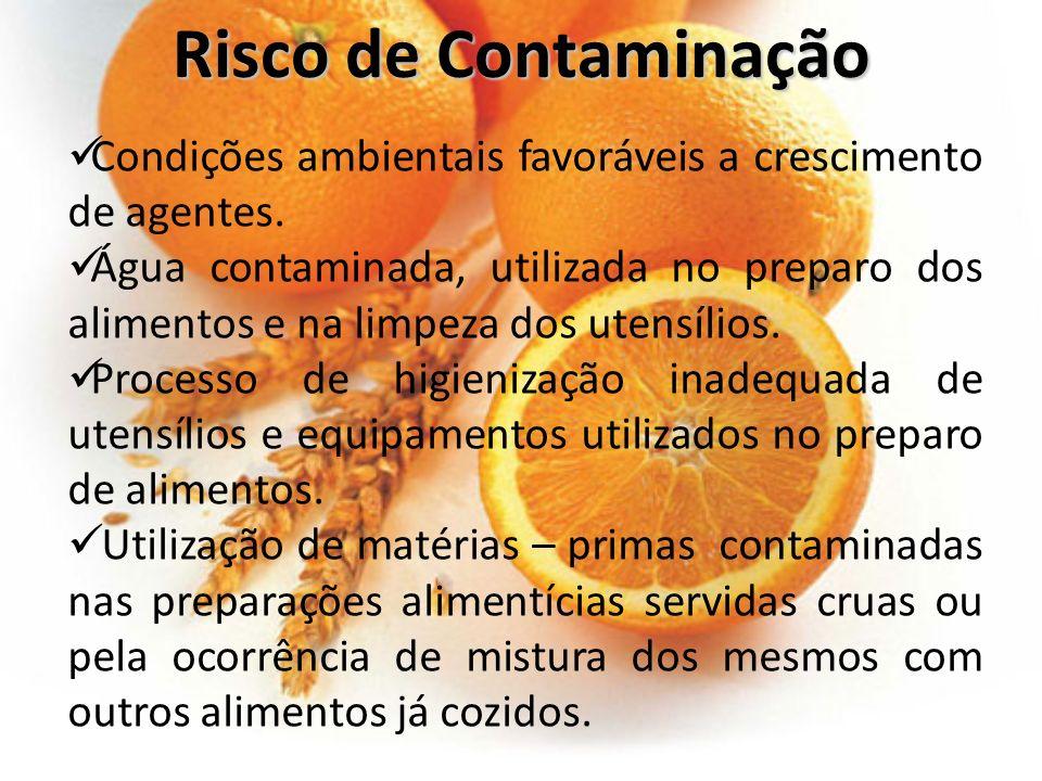Risco de Contaminação Condições ambientais favoráveis a crescimento de agentes.