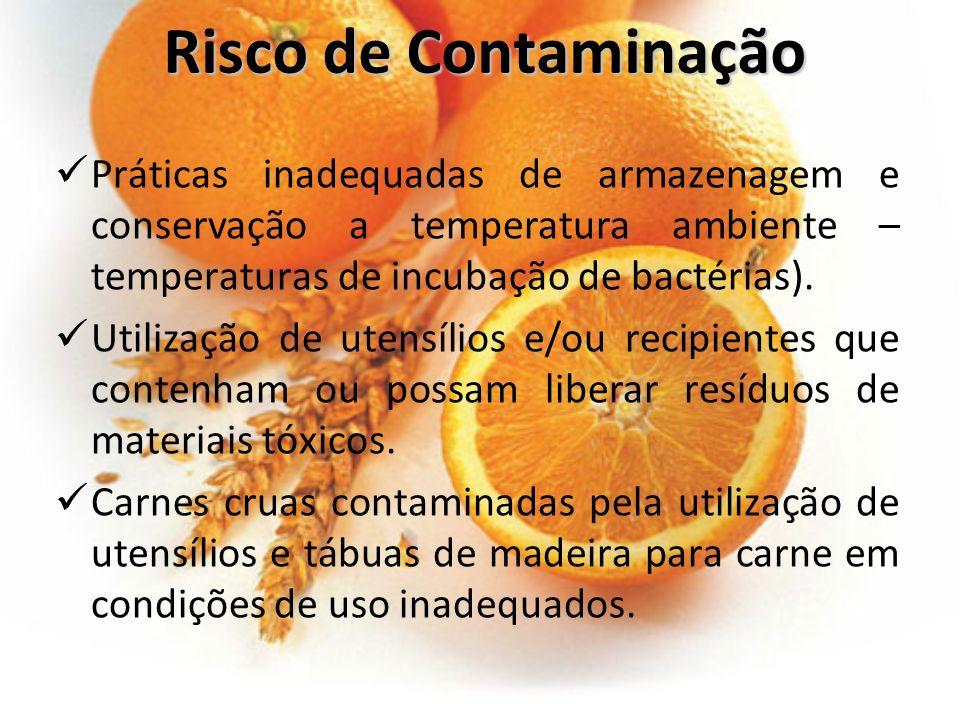 Risco de Contaminação Práticas inadequadas de armazenagem e conservação a temperatura ambiente – temperaturas de incubação de bactérias).
