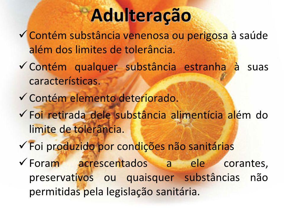 Adulteração Contém substância venenosa ou perigosa à saúde além dos limites de tolerância.