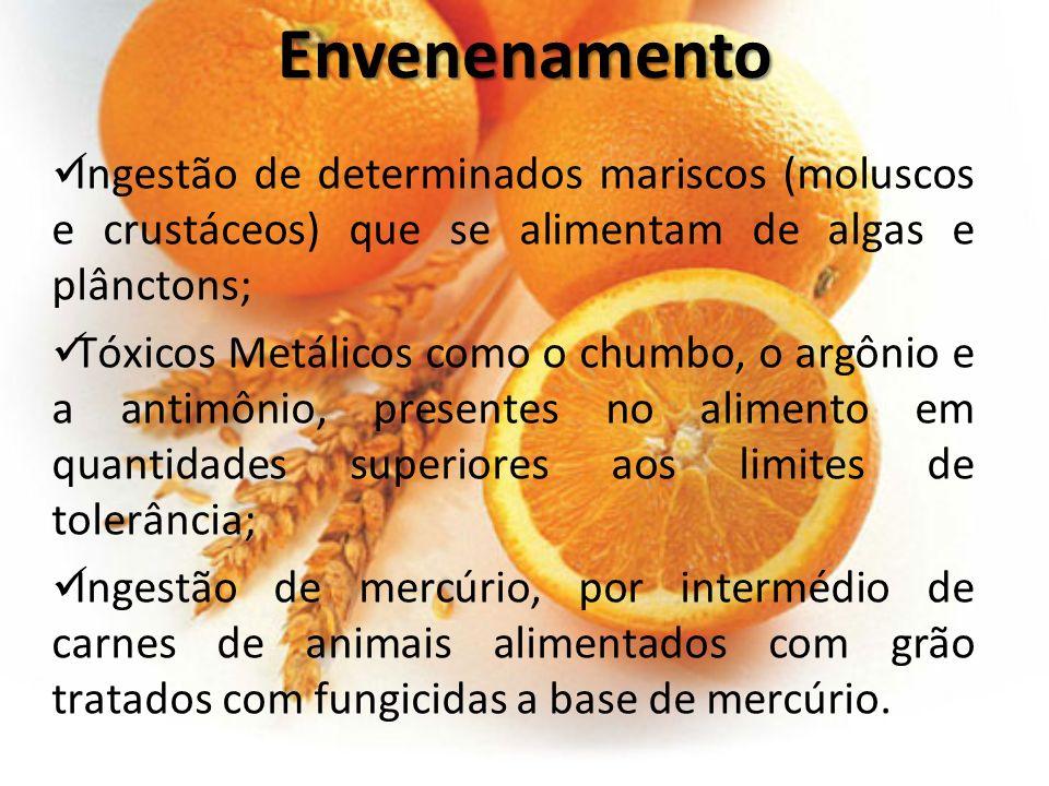Envenenamento Ingestão de determinados mariscos (moluscos e crustáceos) que se alimentam de algas e plânctons;