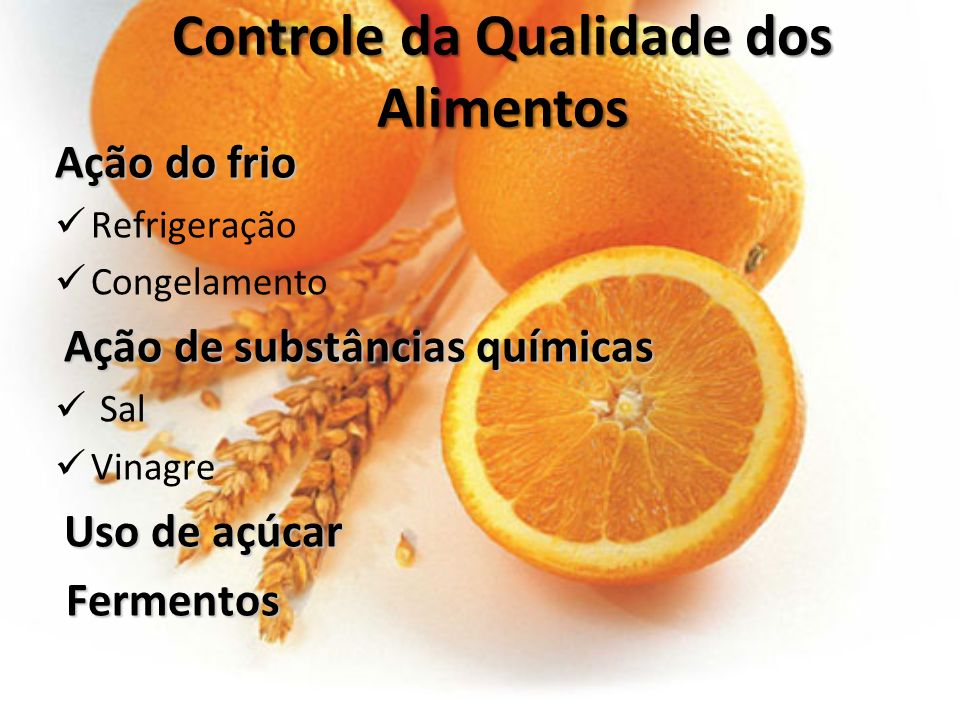 Controle da Qualidade dos Alimentos