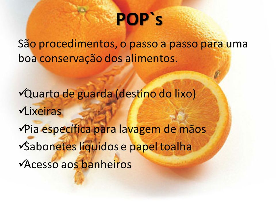 POP`s São procedimentos, o passo a passo para uma boa conservação dos alimentos. Quarto de guarda (destino do lixo)