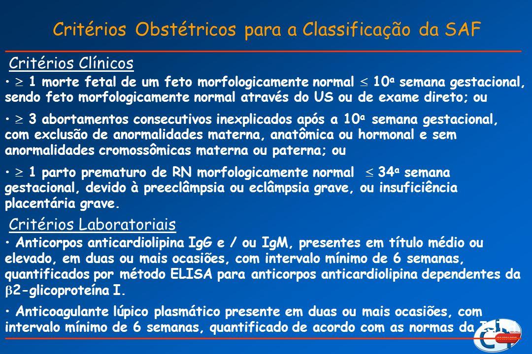 Critérios Obstétricos para a Classificação da SAF