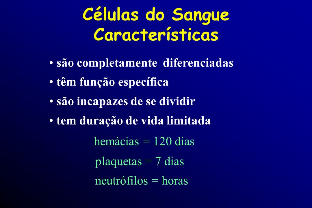 Células do Sangue Características