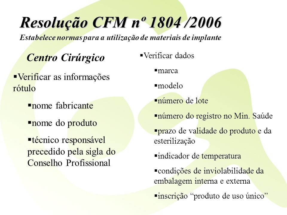 Resolução CFM nº 1804 /2006 Centro Cirúrgico