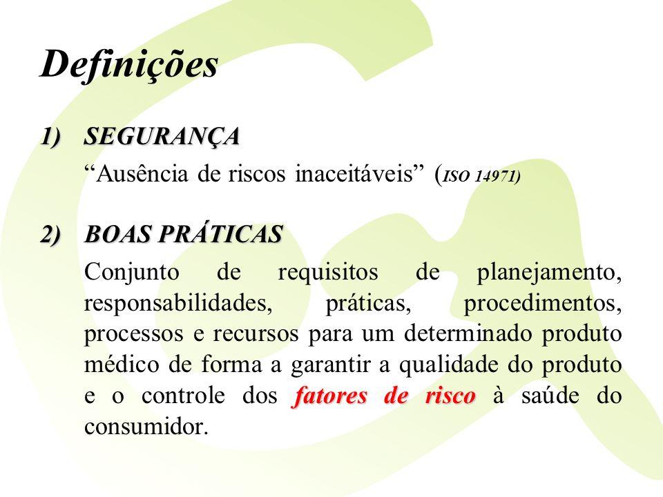 Definições SEGURANÇA Ausência de riscos inaceitáveis (ISO 14971)