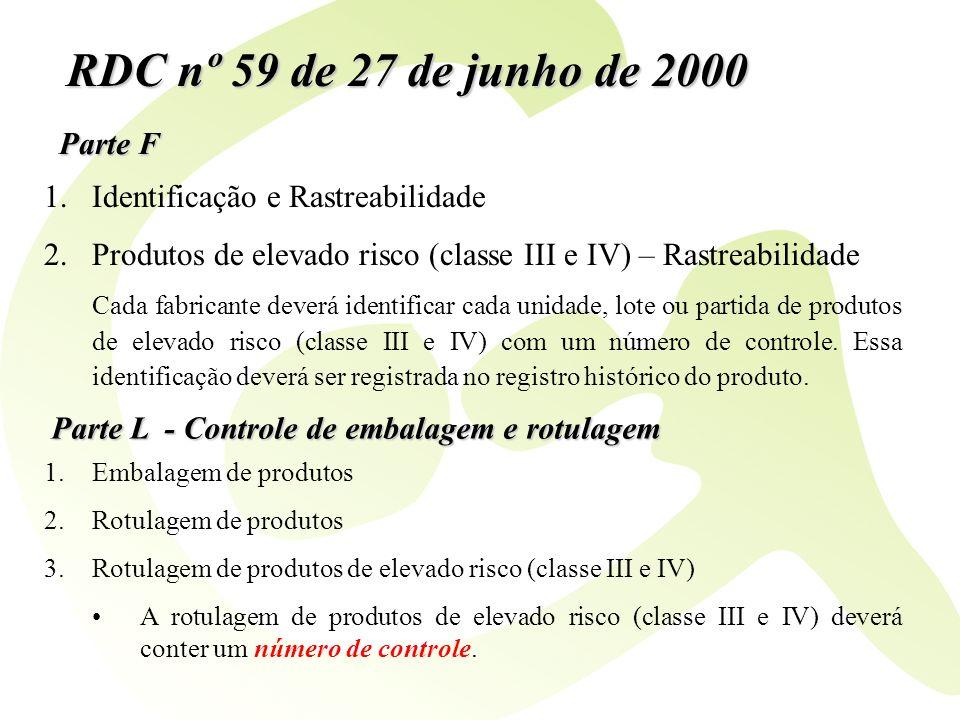 RDC nº 59 de 27 de junho de 2000 Parte F