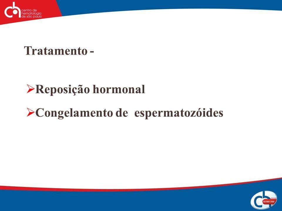 Tratamento - Reposição hormonal Congelamento de espermatozóides