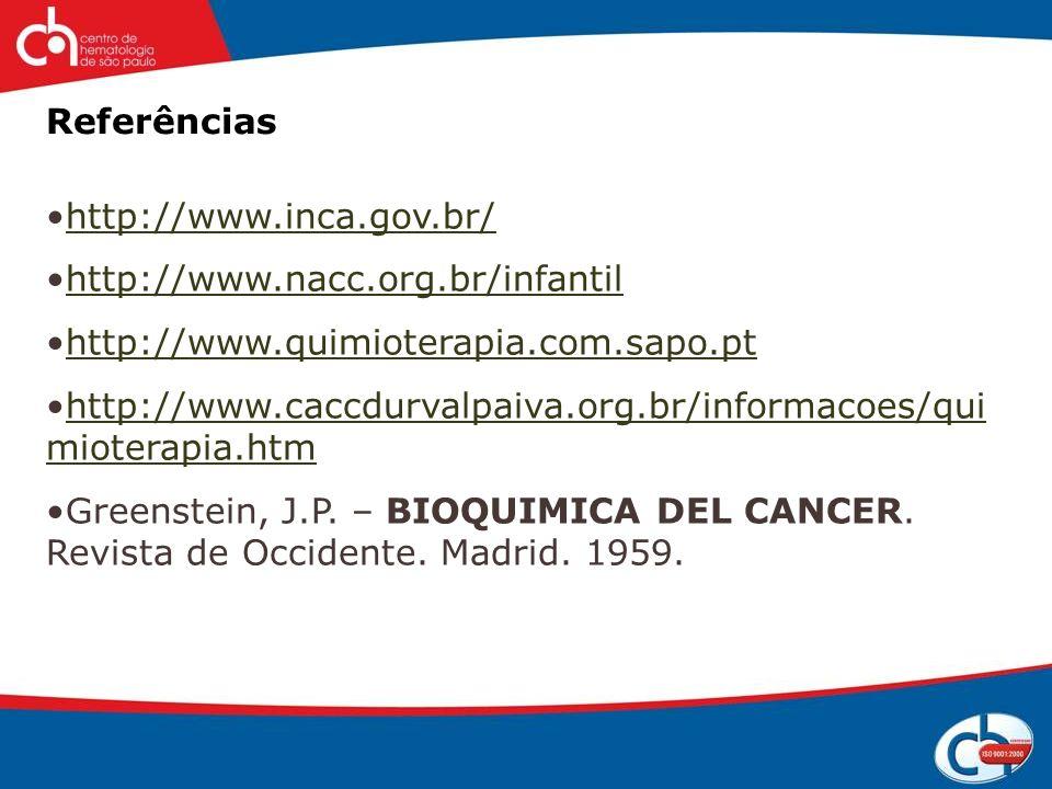 Referências http://www.inca.gov.br/ http://www.nacc.org.br/infantil. http://www.quimioterapia.com.sapo.pt.
