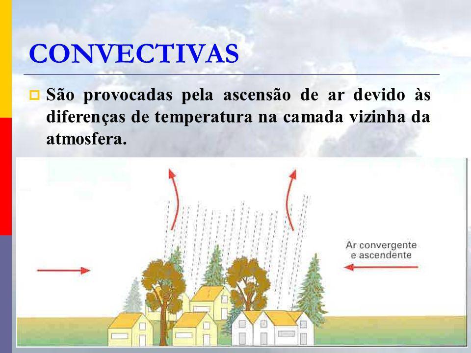 CONVECTIVAS São provocadas pela ascensão de ar devido às diferenças de temperatura na camada vizinha da atmosfera.
