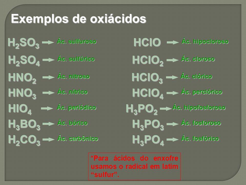 Exemplos de oxiácidos H2SO3 HClO H2SO4 HClO2 HNO2 HClO3 HNO3 HClO4