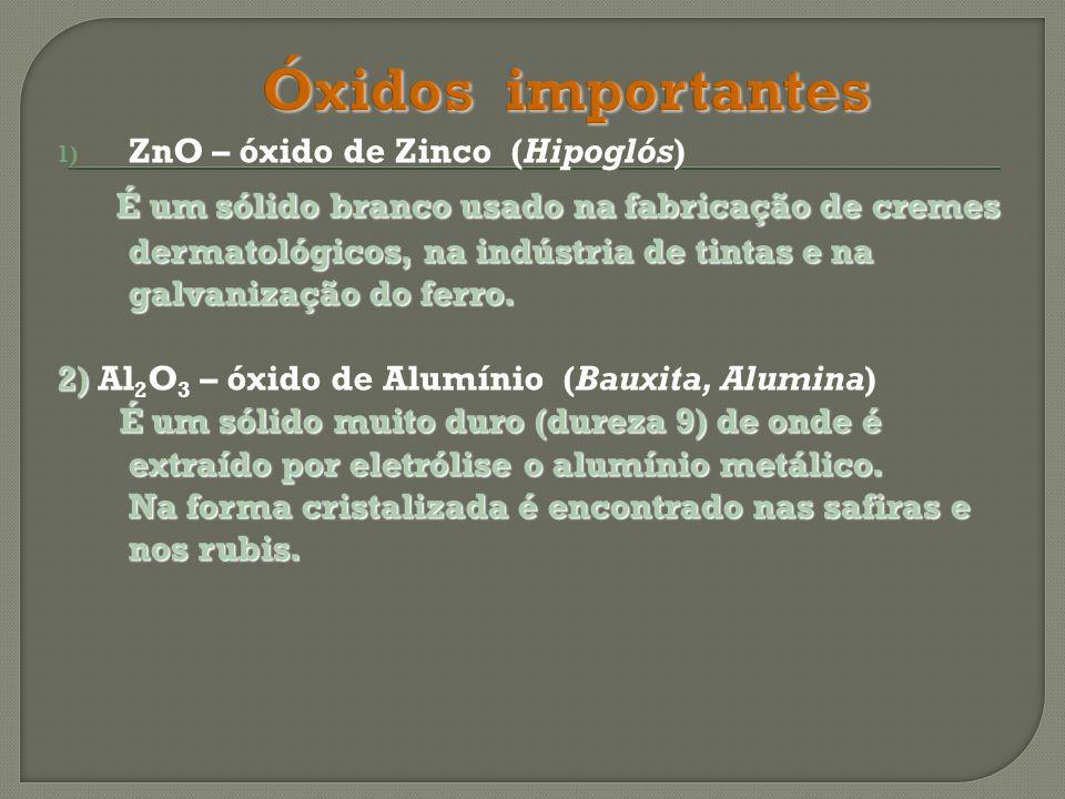 Óxidos importantes ZnO – óxido de Zinco (Hipoglós)