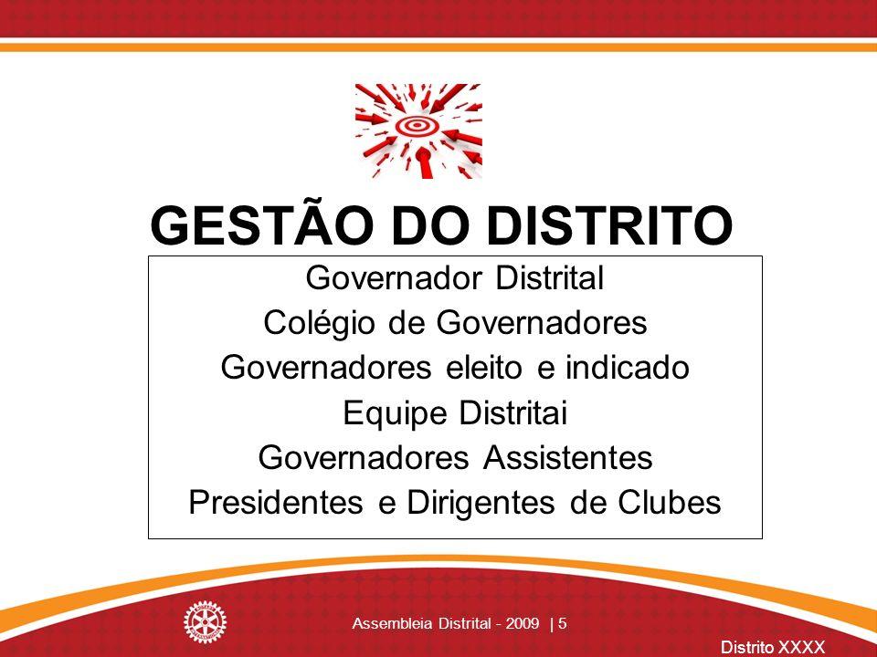 GESTÃO DO DISTRITO Governador Distrital Colégio de Governadores