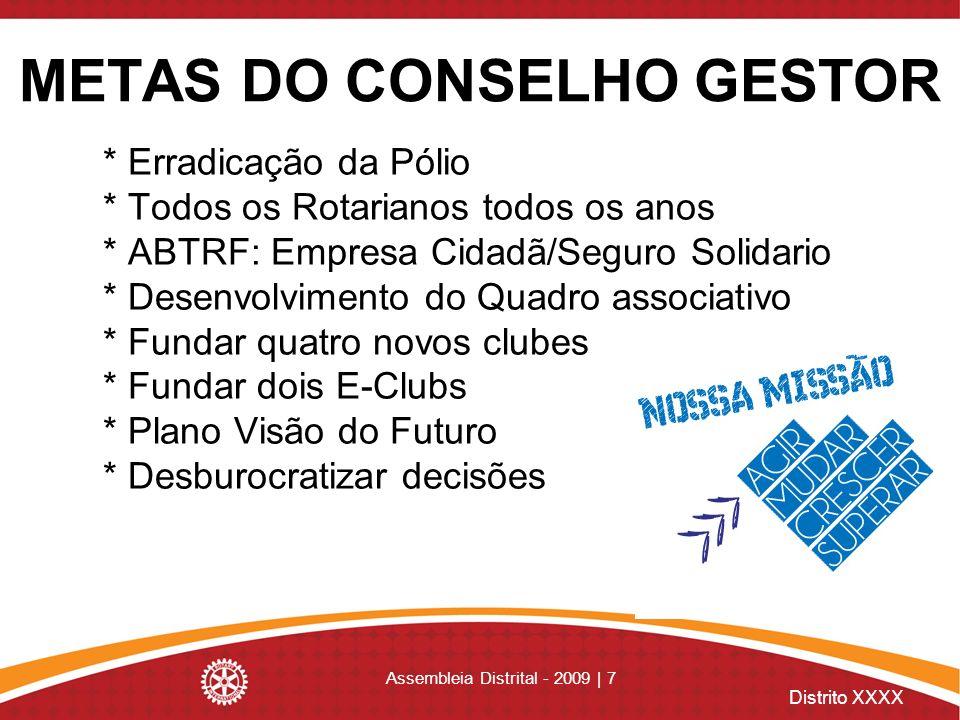 METAS DO CONSELHO GESTOR