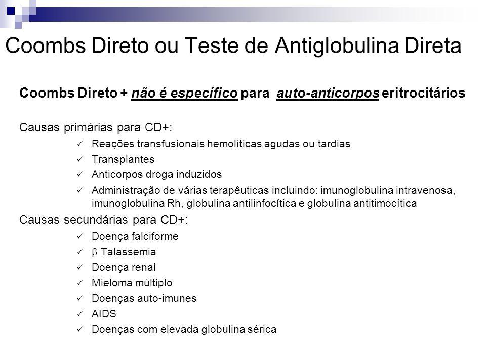 Coombs Direto ou Teste de Antiglobulina Direta