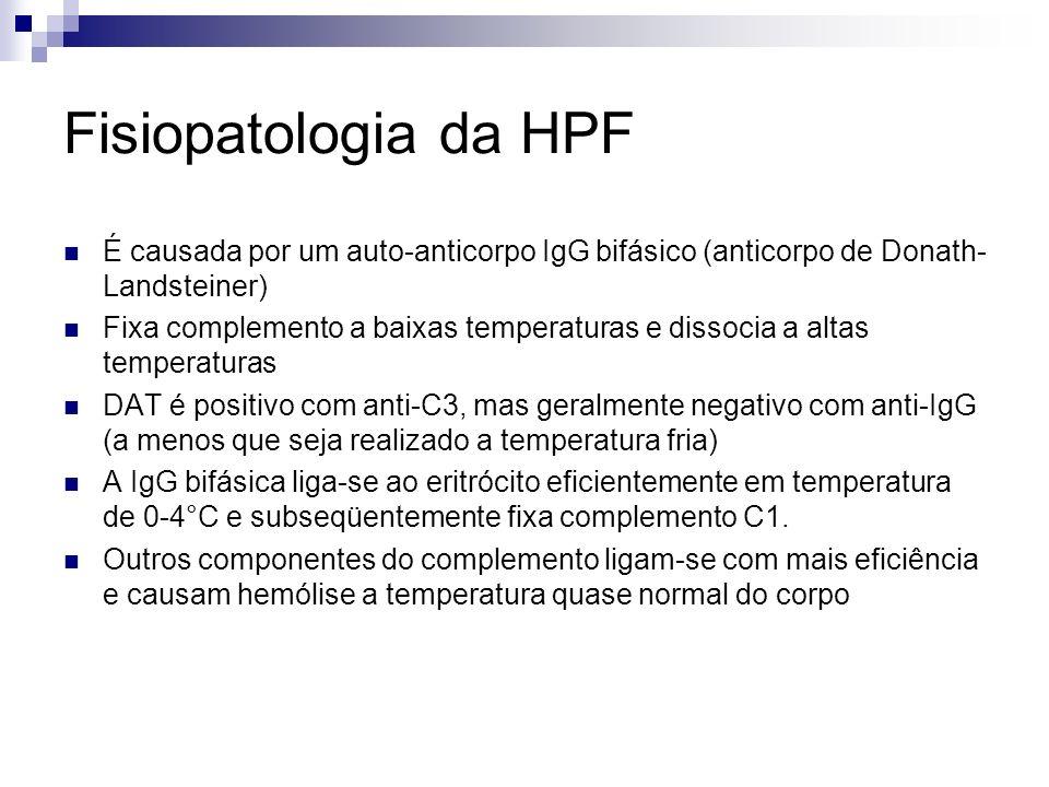 Fisiopatologia da HPF É causada por um auto-anticorpo IgG bifásico (anticorpo de Donath-Landsteiner)