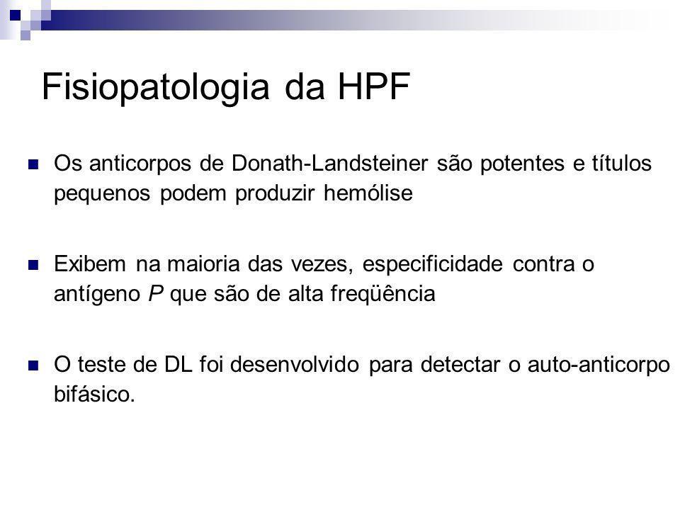 Fisiopatologia da HPF Os anticorpos de Donath-Landsteiner são potentes e títulos pequenos podem produzir hemólise.