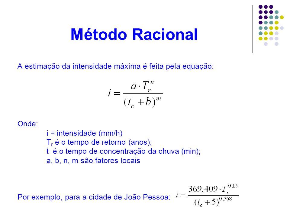 Método Racional A estimação da intensidade máxima é feita pela equação: Onde: i = intensidade (mm/h)