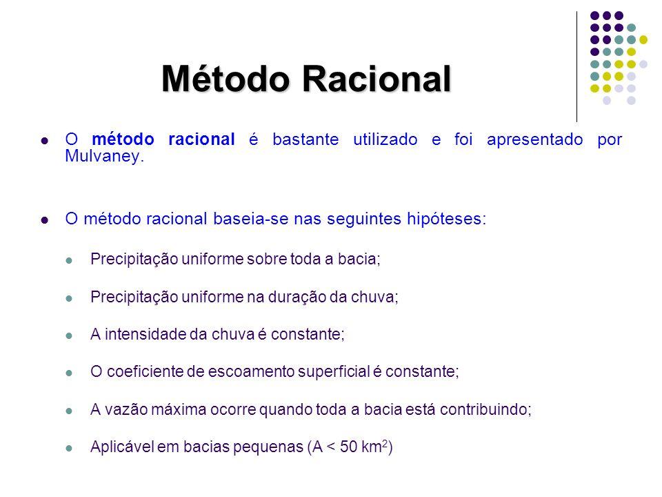 Método Racional O método racional é bastante utilizado e foi apresentado por Mulvaney. O método racional baseia-se nas seguintes hipóteses: