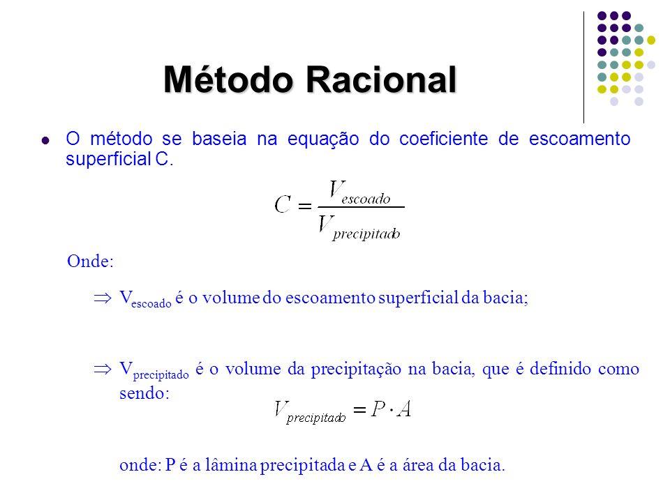 Método Racional O método se baseia na equação do coeficiente de escoamento superficial C. Onde: