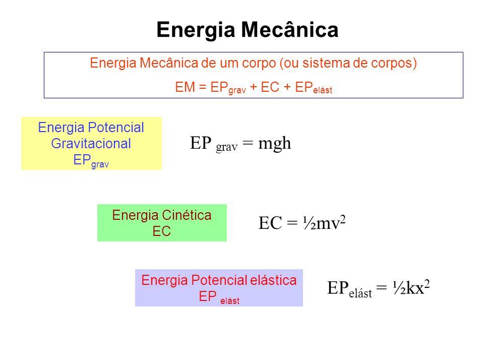 Energia Mecânica EP grav = mgh EC = ½mv2 EPelást = ½kx2