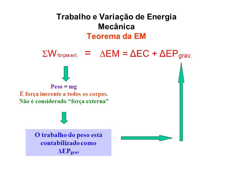 Trabalho e Variação de Energia Mecânica Teorema da EM