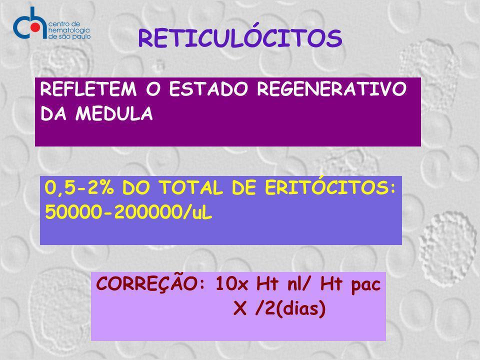 RETICULÓCITOS REFLETEM O ESTADO REGENERATIVO DA MEDULA