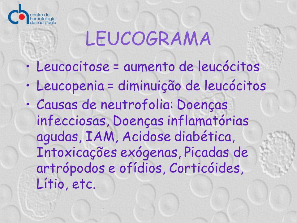 LEUCOGRAMA Leucocitose = aumento de leucócitos