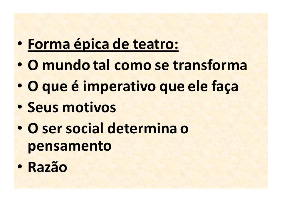 Forma épica de teatro: O mundo tal como se transforma. O que é imperativo que ele faça. Seus motivos.