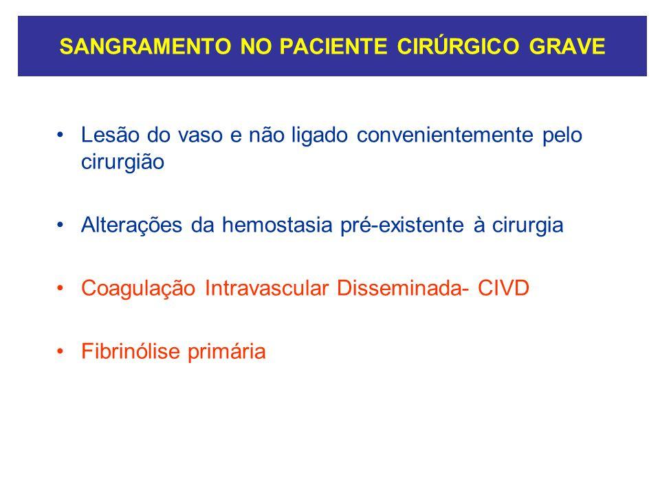 SANGRAMENTO NO PACIENTE CIRÚRGICO GRAVE