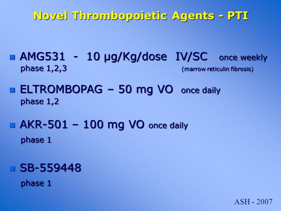 Novel Thrombopoietic Agents - PTI