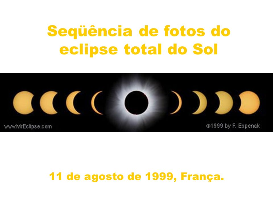 Seqüência de fotos do eclipse total do Sol