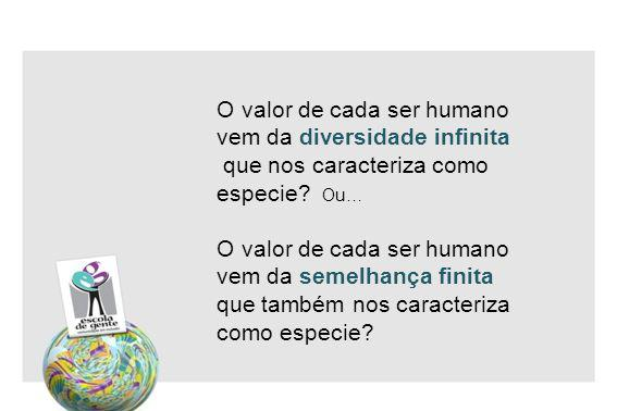 O valor de cada ser humano vem da diversidade infinita que nos caracteriza como especie Ou… O valor de cada ser humano vem da semelhança finita que também nos caracteriza como especie