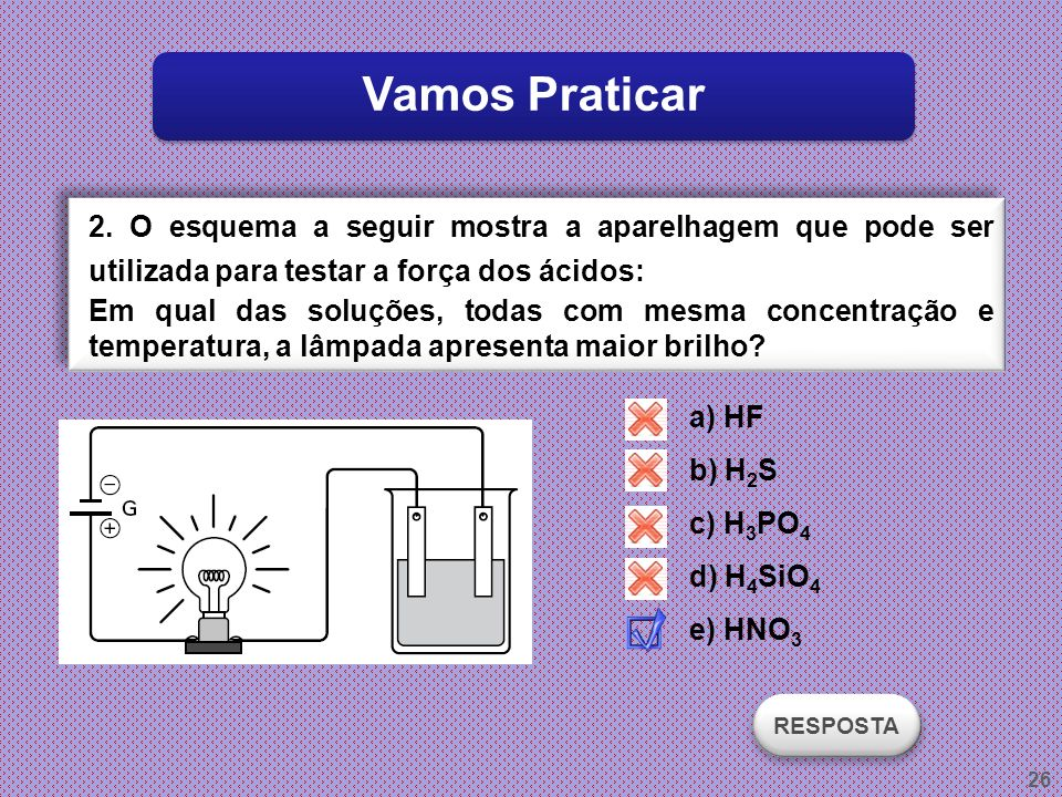 Vamos Praticar 2. O esquema a seguir mostra a aparelhagem que pode ser utilizada para testar a força dos ácidos: