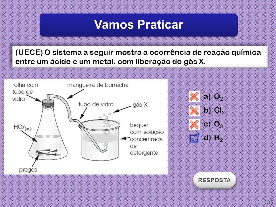 Vamos Praticar (UECE) O sistema a seguir mostra a ocorrência de reação química entre um ácido e um metal, com liberação do gás X.