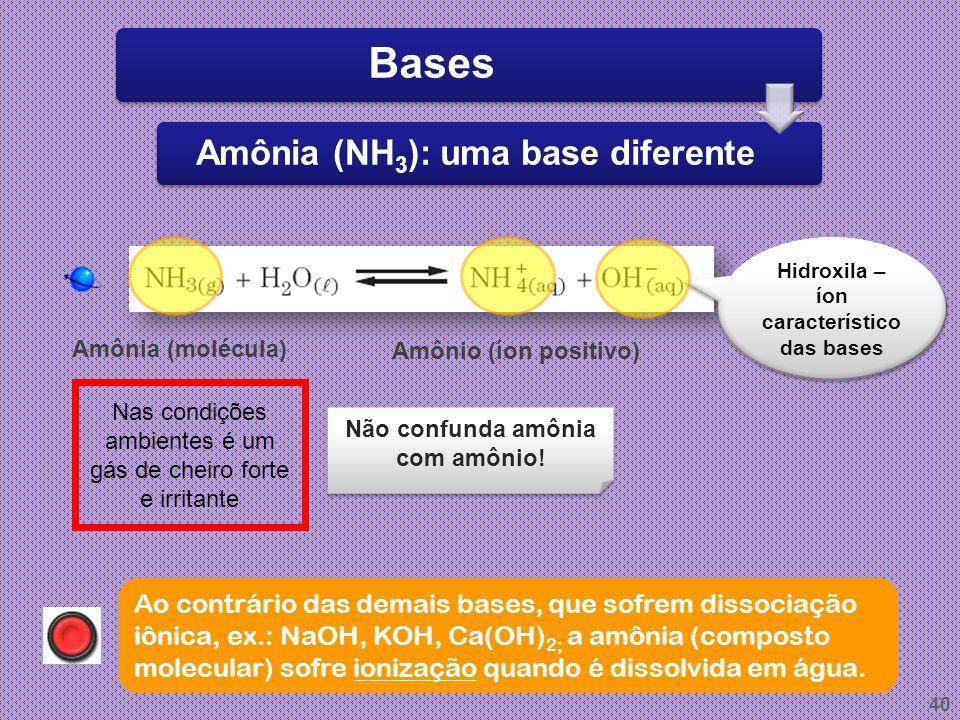 Amônia (NH3): uma base diferente