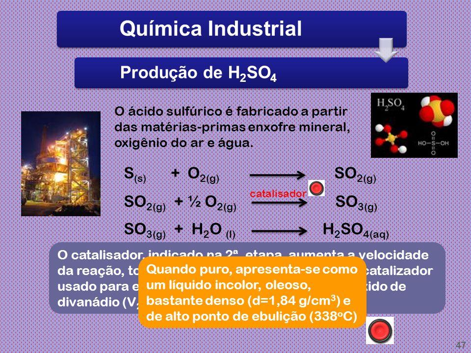 Química Industrial Produção de H2SO4 S(s) + O2(g) SO2(g)