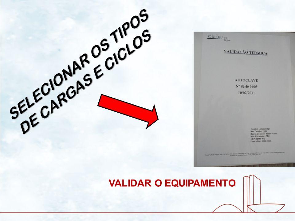 SELECIONAR OS TIPOS DE CARGAS E CICLOS VALIDAR O EQUIPAMENTO