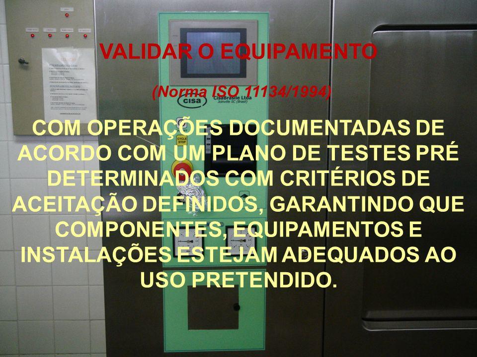 VALIDAR O EQUIPAMENTO (Norma ISO 11134/1994)