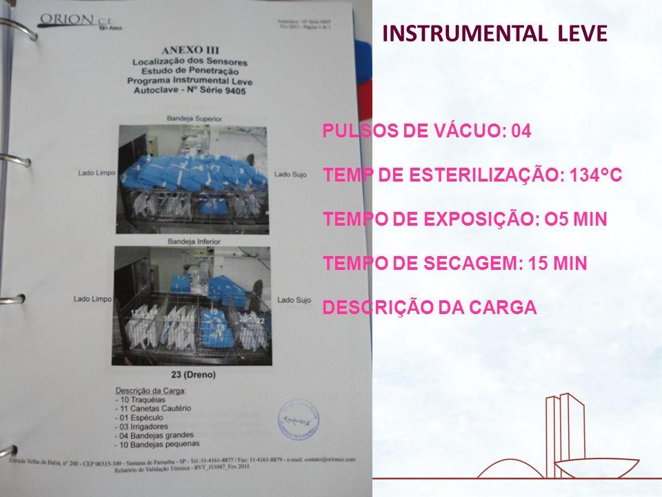 INSTRUMENTAL LEVE PULSOS DE VÁCUO: 04 TEMP DE ESTERILIZAÇÃO: 134°C