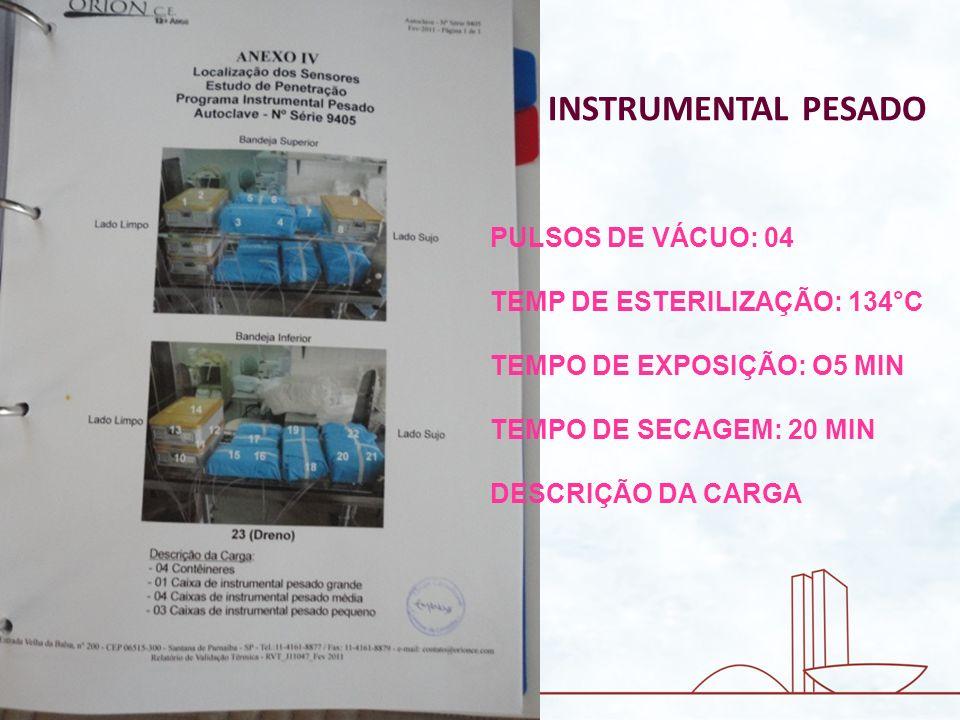 INSTRUMENTAL PESADO PULSOS DE VÁCUO: 04 TEMP DE ESTERILIZAÇÃO: 134°C