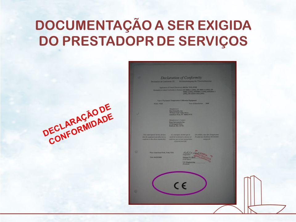 DOCUMENTAÇÃO A SER EXIGIDA DO PRESTADOPR DE SERVIÇOS