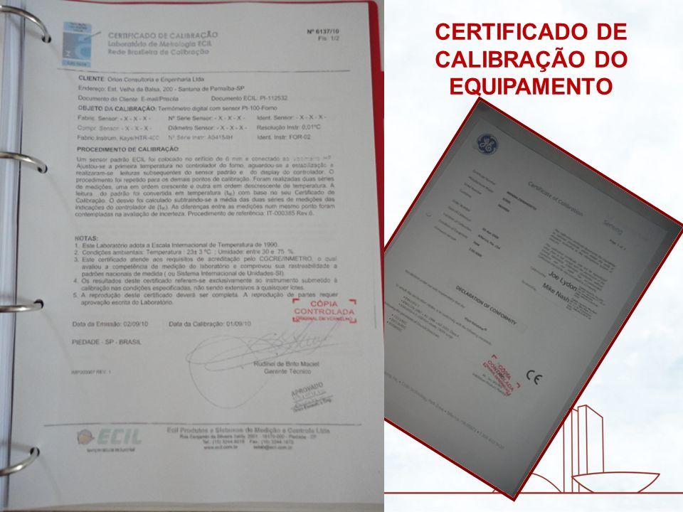 CERTIFICADO DE CALIBRAÇÃO DO EQUIPAMENTO