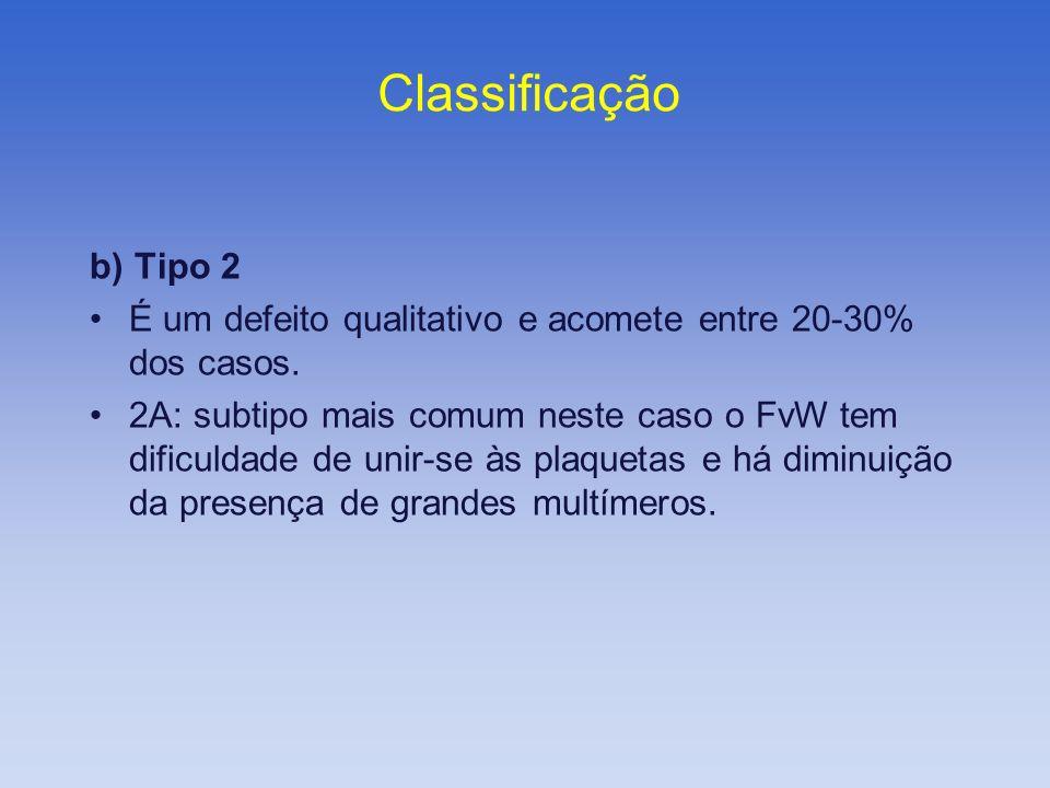 Classificação b) Tipo 2. É um defeito qualitativo e acomete entre 20-30% dos casos.