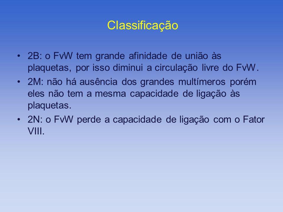 Classificação 2B: o FvW tem grande afinidade de união às plaquetas, por isso diminui a circulação livre do FvW.