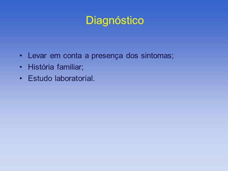 Diagnóstico Levar em conta a presença dos sintomas; História familiar;